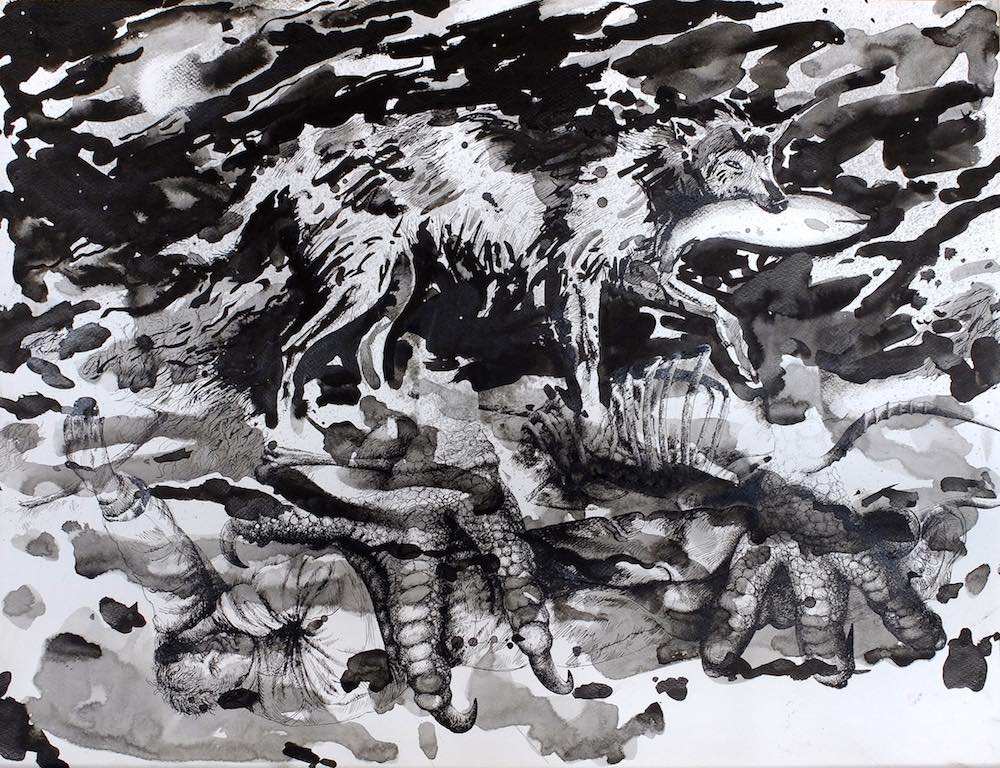Paolo Boosten indian ink drawing with sleeping man in nature and a wolf in background.