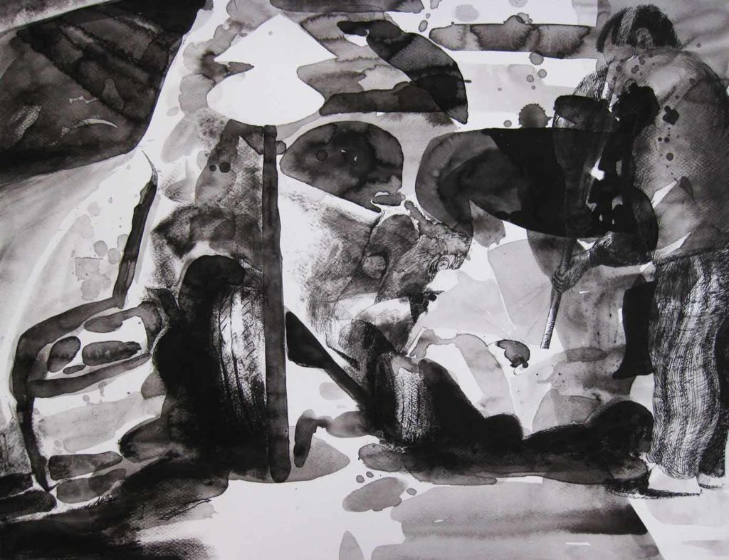 Paolo Boosten indian ink drawing with standing man and wrecked cars.