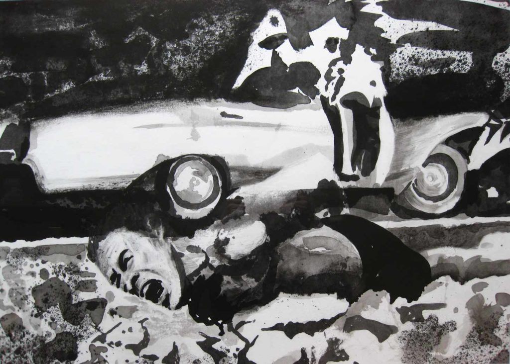 Paolo Boosten indian ink drawing with laying man and car in background.
