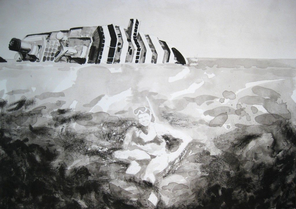 Paolo Boosten indian ink drawing with swiming girls and wrecked ship in background.
