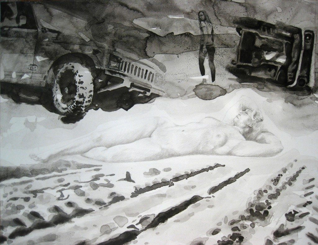 Paolo Boosten indian ink drawing with laying naked woman and car in background.