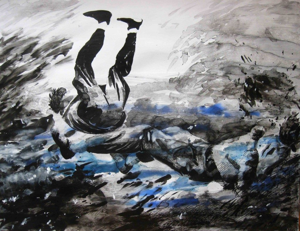 Paolo Boosten Indian Ink drawing with falling men.