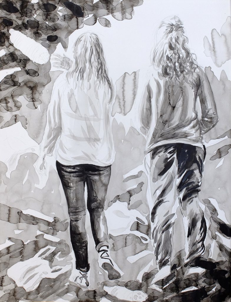 Paolo Boosten indian ink drawing with two walking girls.
