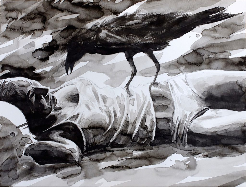 Paolo Boosten indian ink drawing with sleeping girl and black raven.