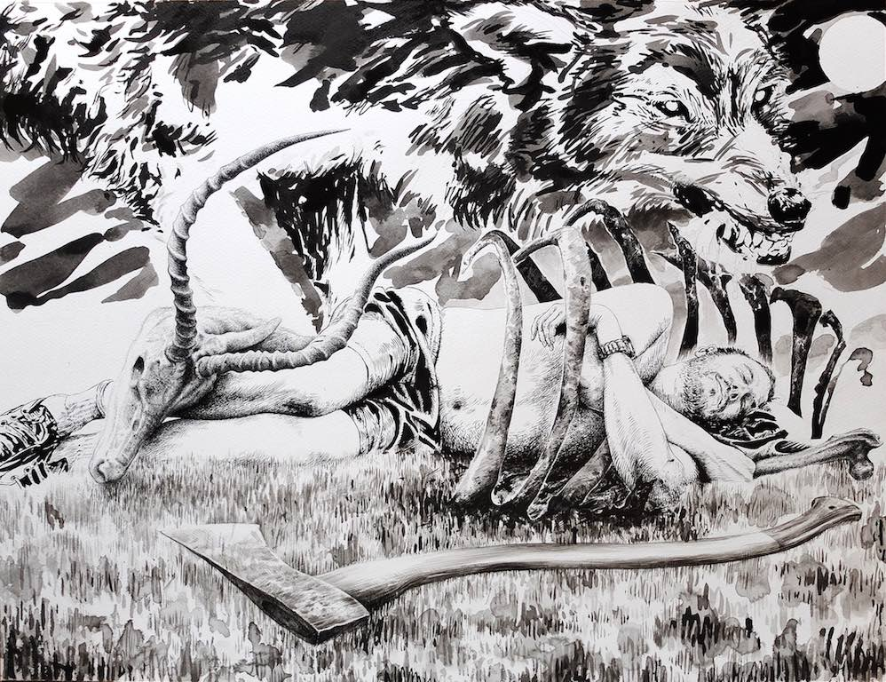 Paolo Boosten indian ink drawing with sleeping man in nature next to his axe and a wolf in background.