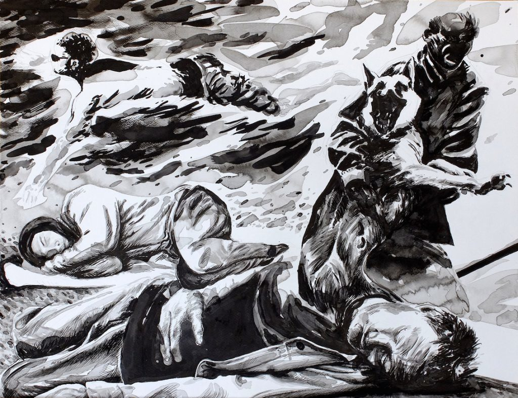 Paolo Boosten indian ink drawing with sleeping man.