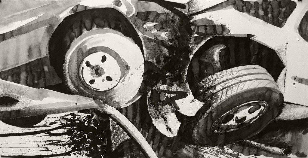 Paolo Boosten indian ink drawing with car crash.