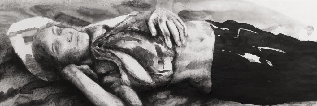 Paolo Boosten indian ink drawing with sleeping girl.