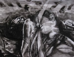 Paolo Boosten indian ink drawing with sleeping girl portrait.