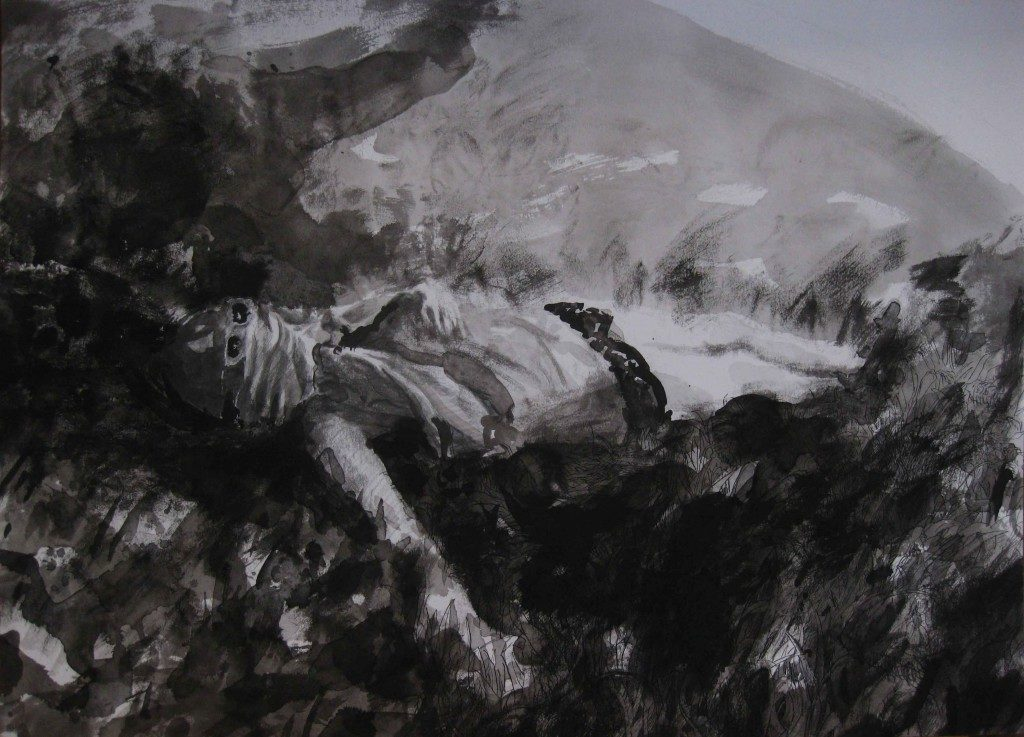 Paolo Boosten indian ink drawing with sleeping girl in nature.