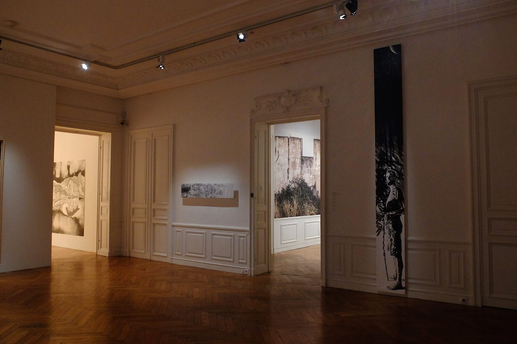 "Paolo Boosten exhibition view of paintings in the entrance, entitled ""Mist"" and ""Un dernier état d'âme cosmique""."