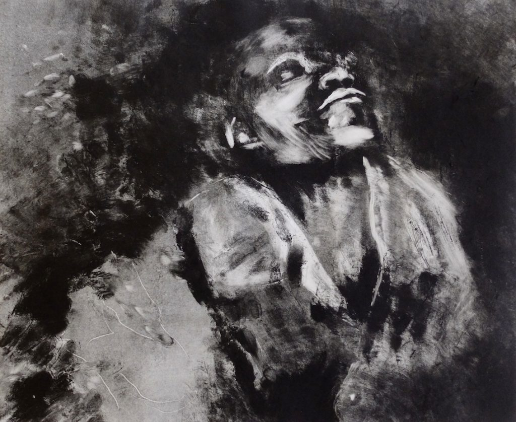 Paolo Boosten monotype print in black and white.