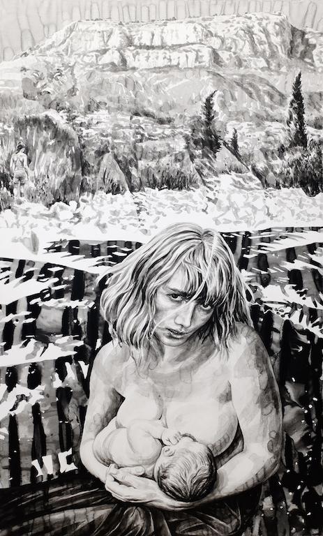 Paolo Boosten Indian Ink painting entitled De la Montagne vers la Mer.