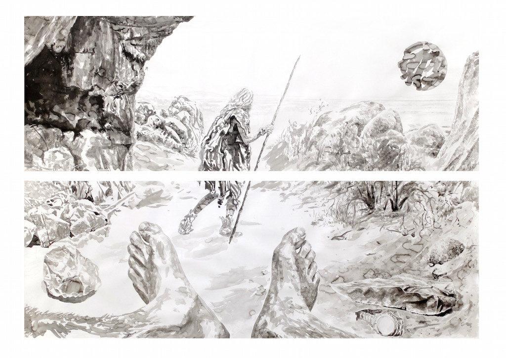 Paolo Boosten Indian Ink painting entitled Horizon des Evénements.