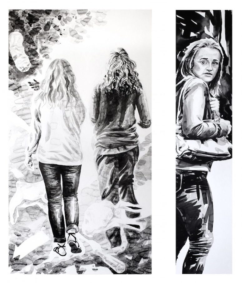 Paolo Boosten Indian Ink diptych painting with walking womens.