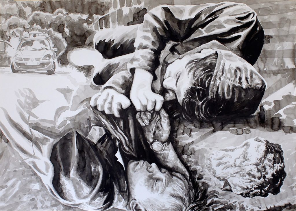 Paolo Boosten Indian Ink painting entitled La pierre.