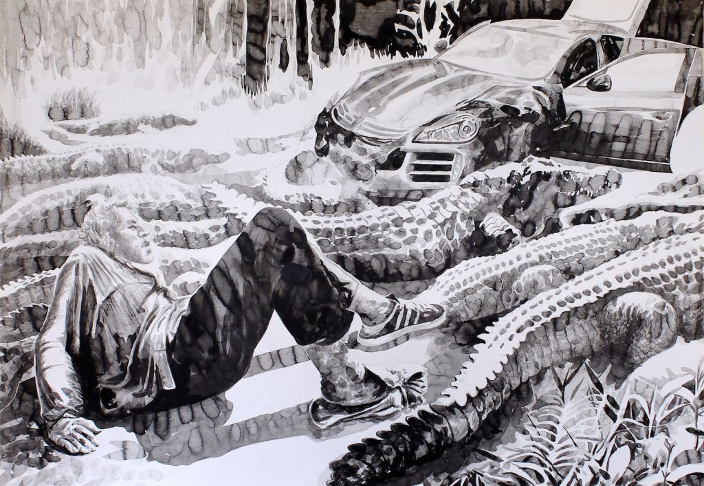 Paolo Boosten Indian Ink painting with crocodiles.