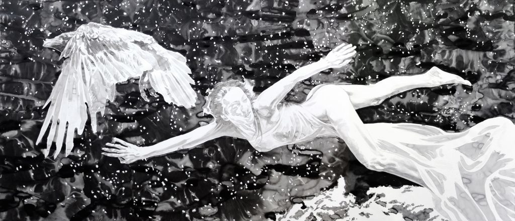 Paolo Boosten Indian Ink painting entitled Plongée en Infinitude.