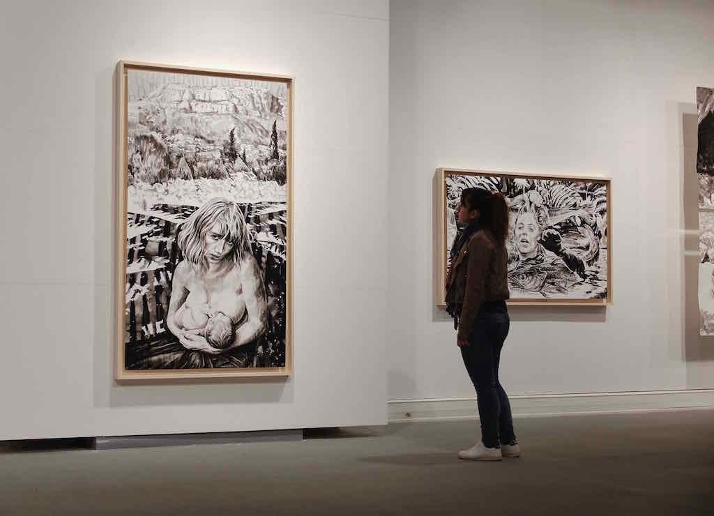 Paolo Boosten œuvres sur papier exhibition view, with painting entitled De la Montagne vers la Mer in Saint-Raphaël, 2018.