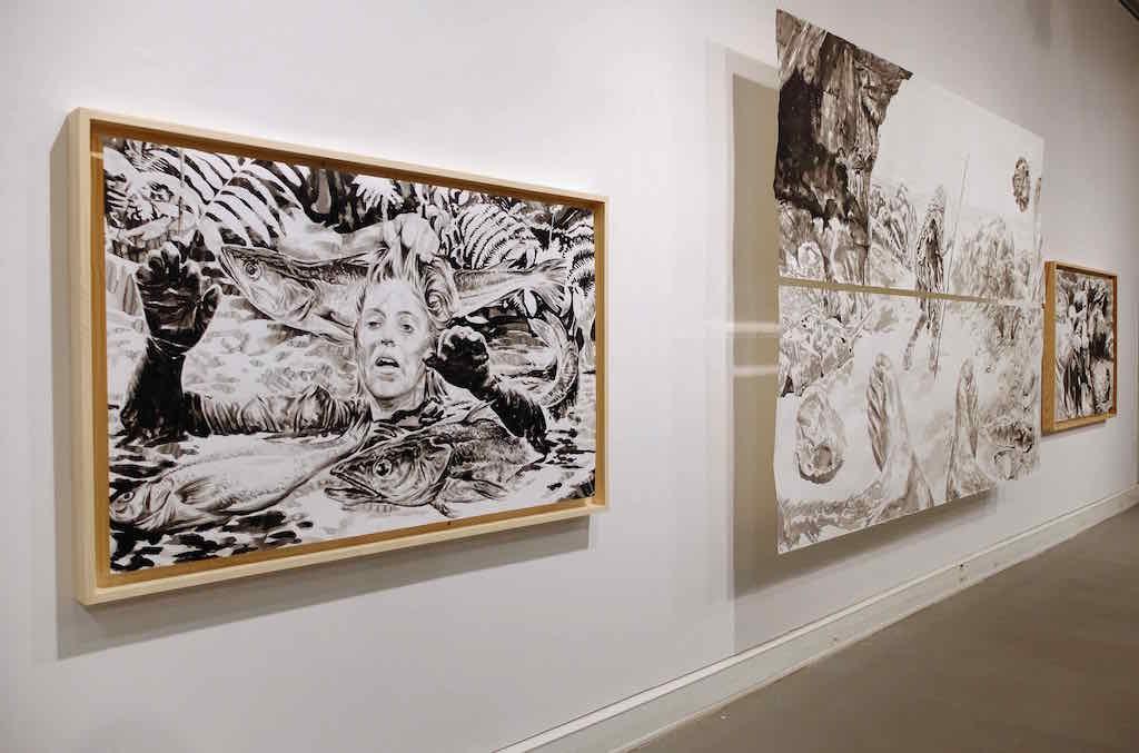 Paolo Boosten œuvres sur papier exhibition view, with painting entitled Aqua Vitae in Saint-Raphaël, 2018.
