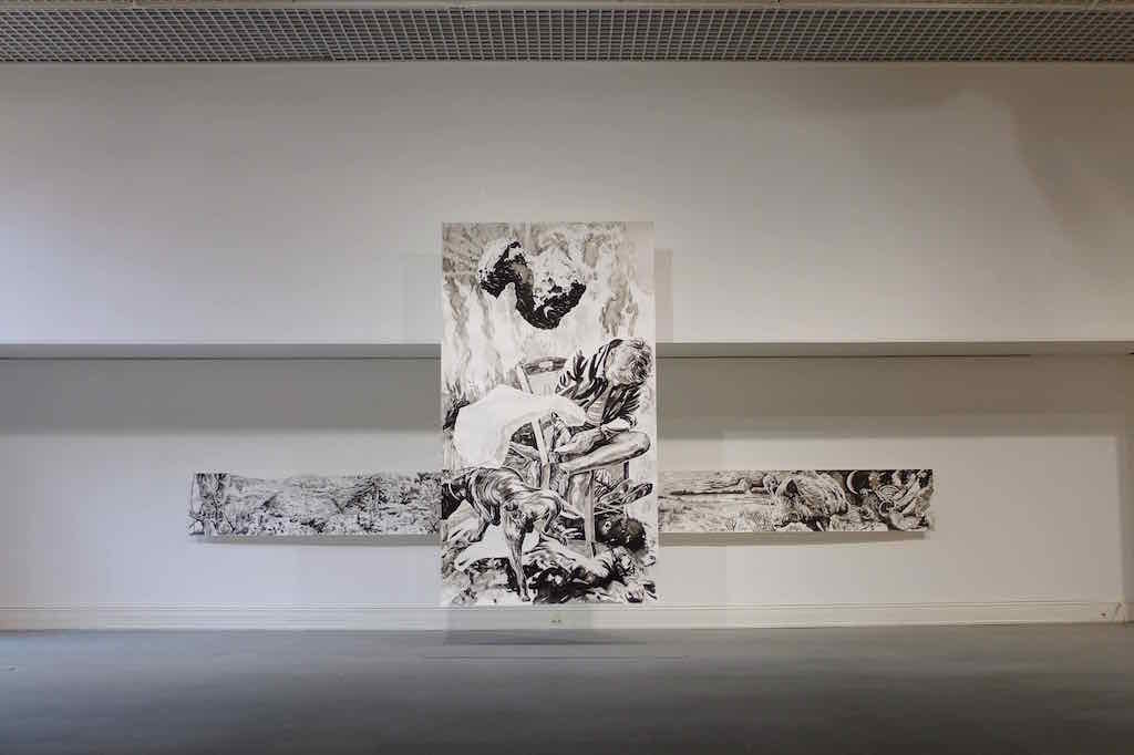 Paolo Boosten œuvres sur papier exhibition view, with painting entitled Wintermärchen in Saint-Raphaël, 2018.
