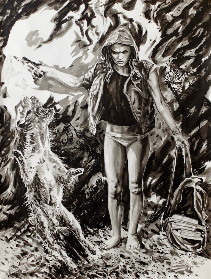 Paolo Boosten Indian Ink painting entitled Miranda.