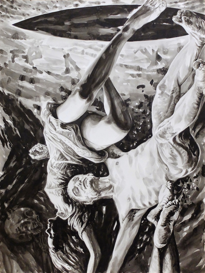 Paolo Boosten Indian Ink painting entitled The Arrival.