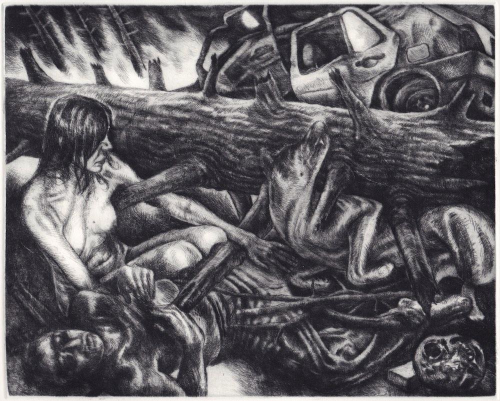 Paolo Boosten drypoint etching entitled Aber der und mein Hof sind gefallen