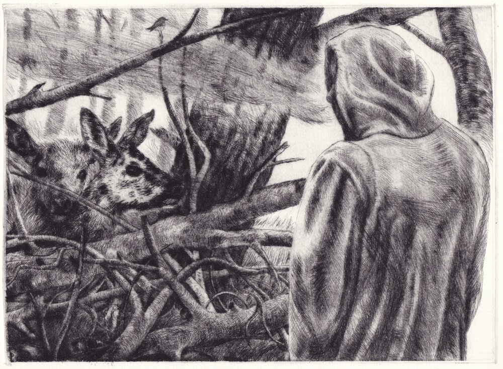 Paolo Boosten drypoint etching entitled Rencontre forestière