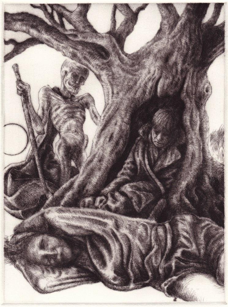 Paolo Boosten drypoint etching entitled La dernière demeure du danseur de corde