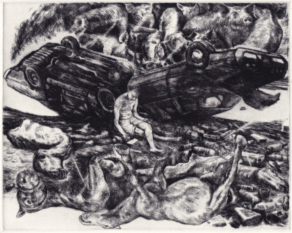 Paolo Boosten drypoint etching entitled Retour à la nature