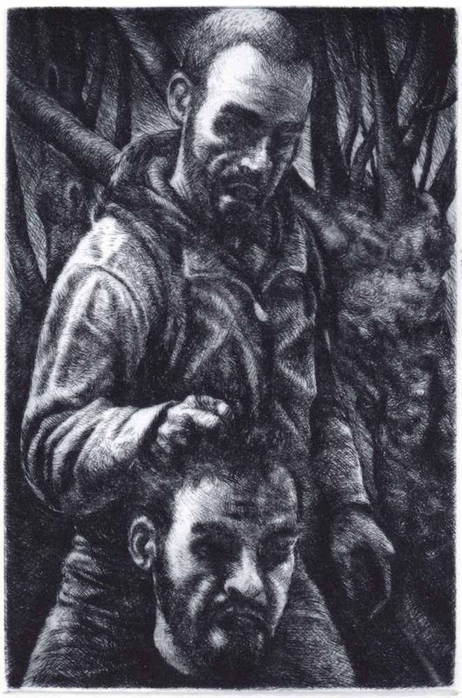 Paolo Boosten drypoint etching entitled David et Goliath