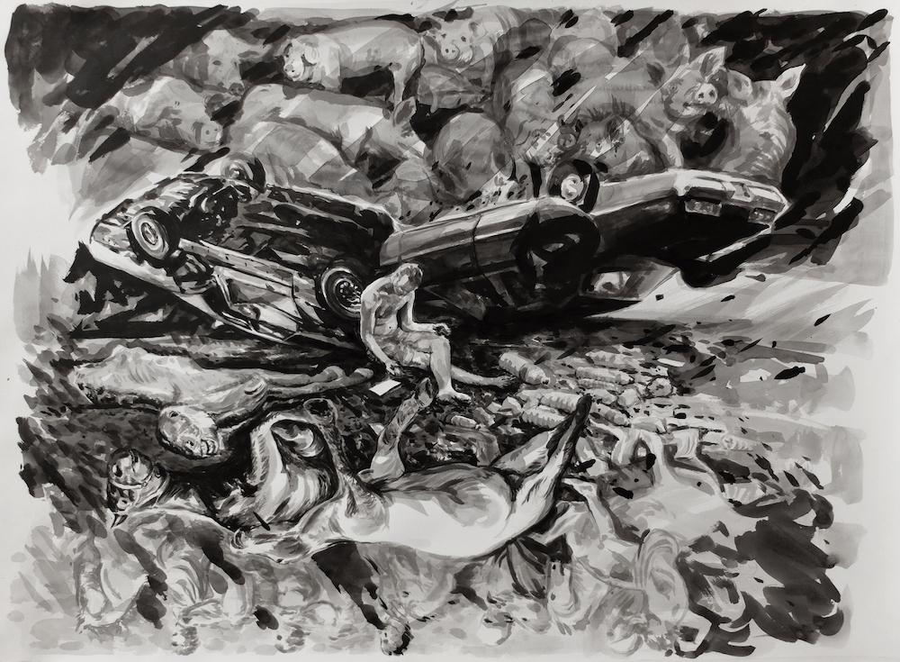 Paolo Boosten Indian Ink painting entitled Retour à la nature
