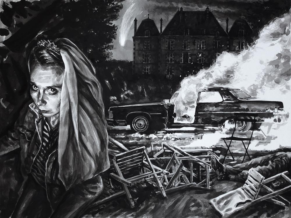 Paolo Boosten Indian Ink painting entitled Melancholia - Deus Ex Machina