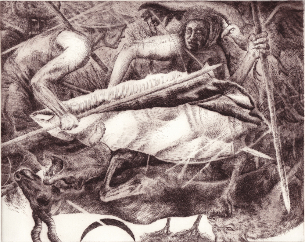 Paolo Boosten drypoint etching entitled Cyclus Immemorialis